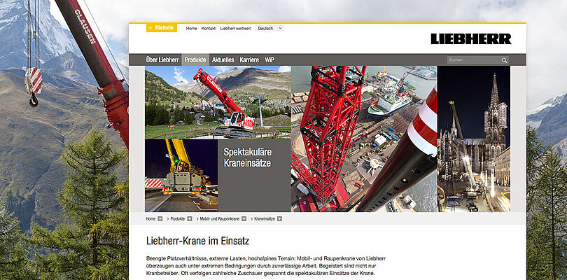 Screenshot Storytelling Formate Liebherr