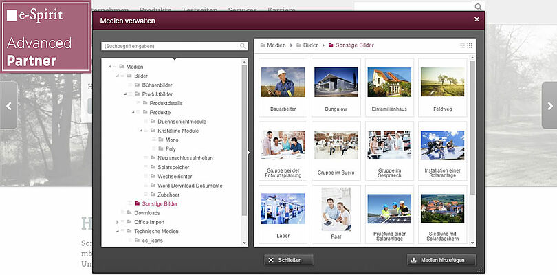 Screenshot FirstSpirit CMS