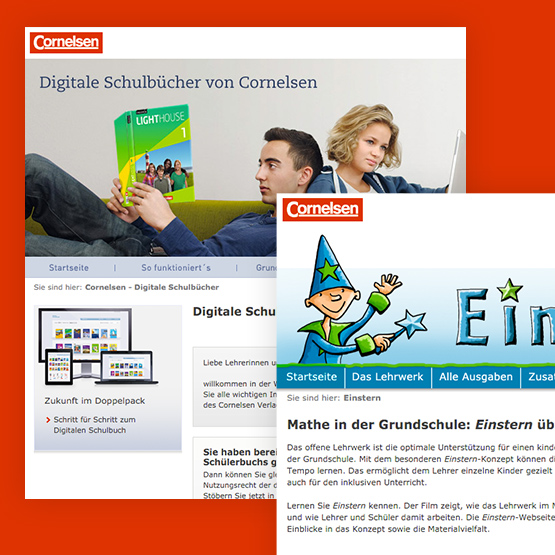 Screenshots von der optimierten Corporate Website des Cornelsen Verlags