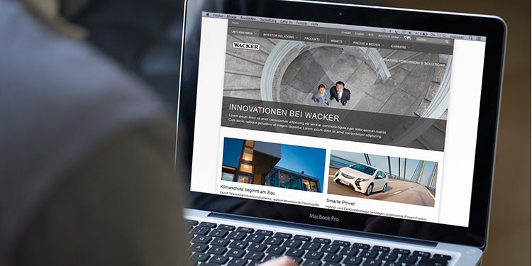 Startseite Wacker Corporate Website auf Desktop