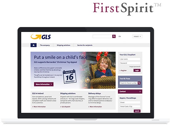 Startseite GLS Corporate Website auf Laptop